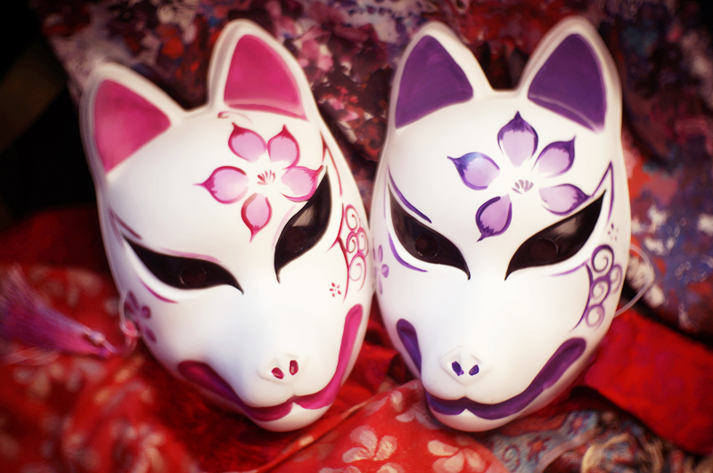 ab9bfb7c28 Free Shipping Full Face Hand Painted Japanese Fox PVC Red Kitsune Cosplay  Mask Party Halloween
