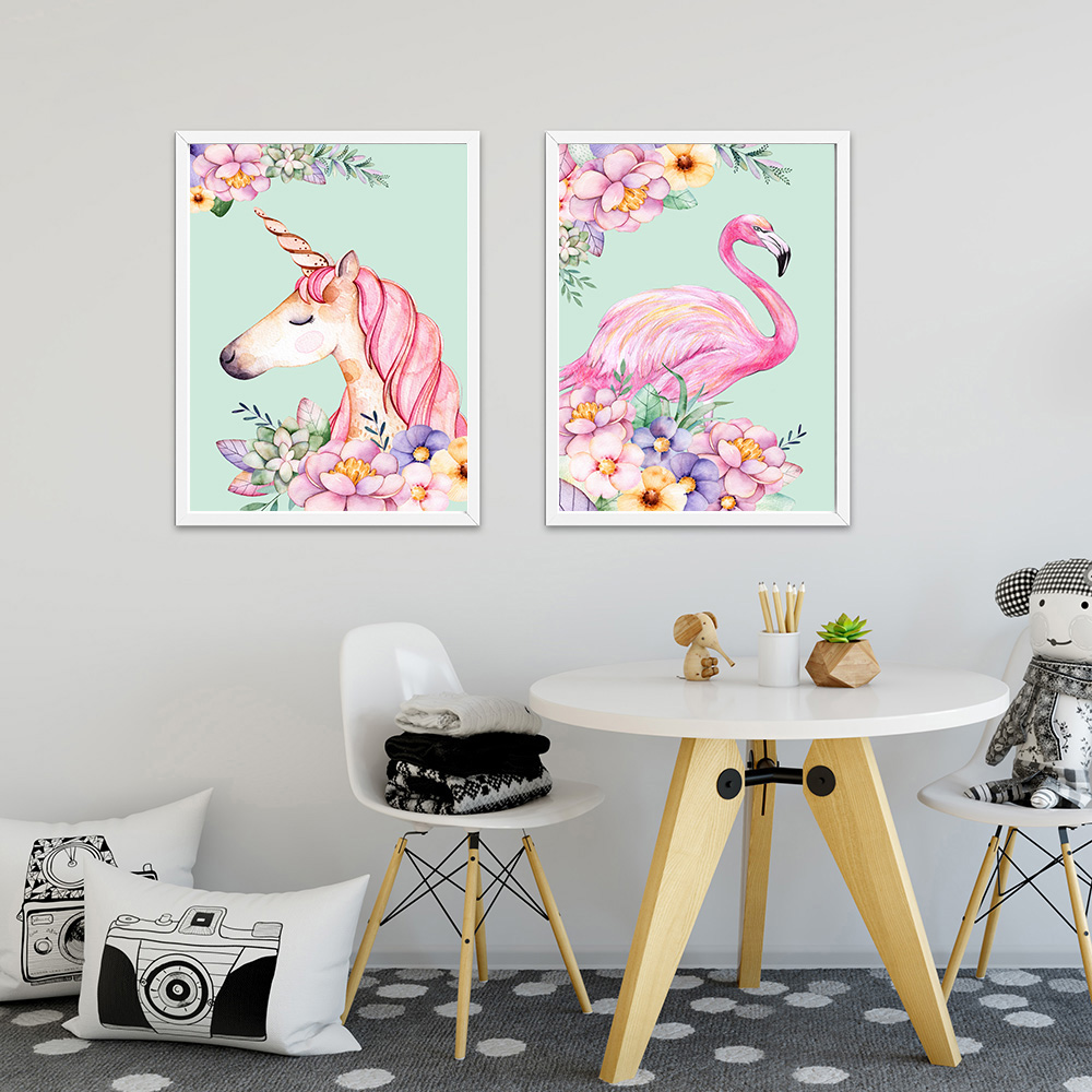 Flower-Unicorn-Flamingo-Poster-and-Print-Watercolor-Animal-Painting-Wall-Art-Decorative-Picture-Nordic-Style-Kids