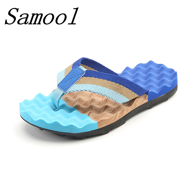 Summer Men Flip Flops Male Mixed Color Slipper Men Casual PVC EVA Shoes Massage Fashion  ...