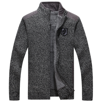 ICPANS High Quality Men Sweaters With Zippers Thick Fleece Warm Black Casual  Winter Men Cardigan Wool 2019 Big Size XXXL