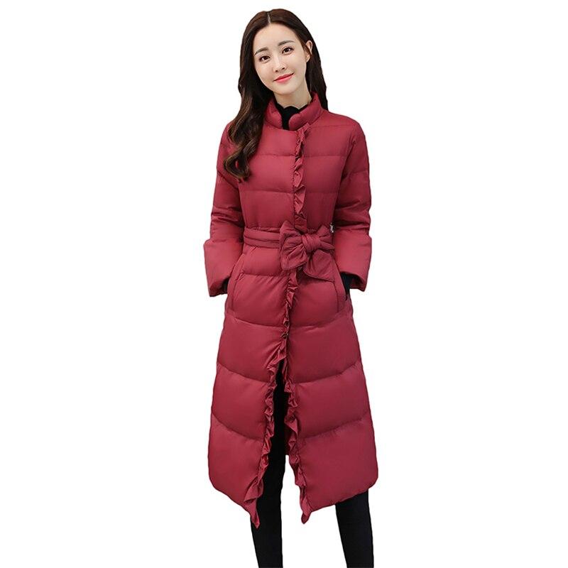 Chaud Ceinture Parka Arc rouge Se Mince Outwear Casual an 2018 Rembourré Manteau Femelle Femmes Long Élégant Ruches Hong Nouveau Noir Q158 Veste Hiver Mode Coton EqXZAwX