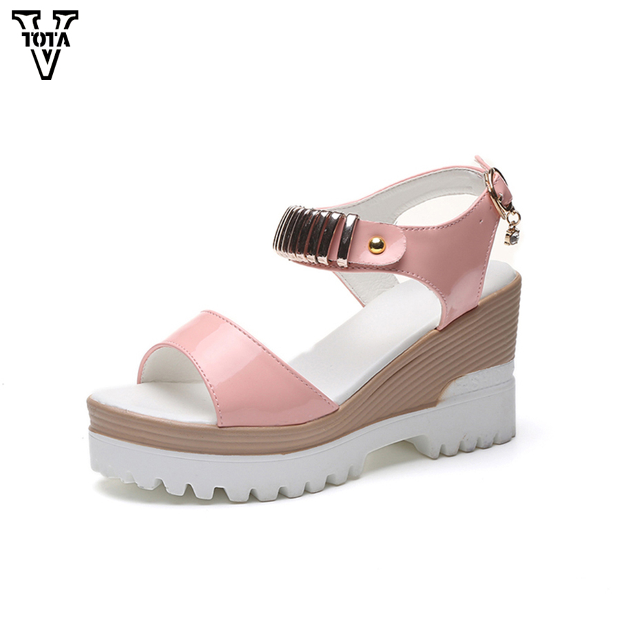 VTOTA New Summer Shoes Woman Fashion Platform Sandals Women High Heel-ed Women Shoes Buckle Open Toe Wedges Women's Shoes X10 vtota platform sandals summer shoes woman soft leather casual open toe gladiator shoes women shoes women wedges sandals r25