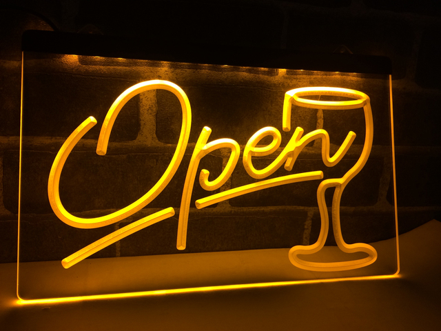 LB536 Script OPEN Glass Cocktails Bar LED Neon Light Sign Home Decor Crafts