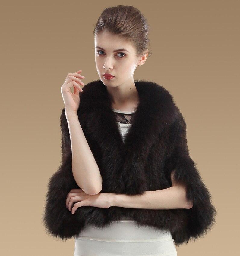 YCFUR Женская шаль, Зимняя Вязаная Шаль из натурального меха норки, шали с лисой, меховой воротник-шарф, женское пончо из настоящей норки - Цвет: Brown