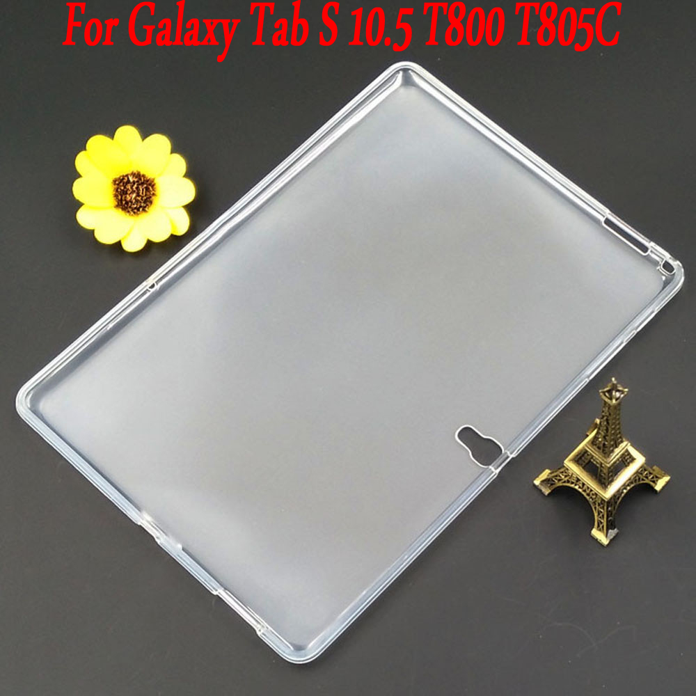 все цены на For Samsung Galaxy Tab S 10.5 T800 T805C silicone case Slim Crystal Clear TPU Silicone Protective Back Cover онлайн