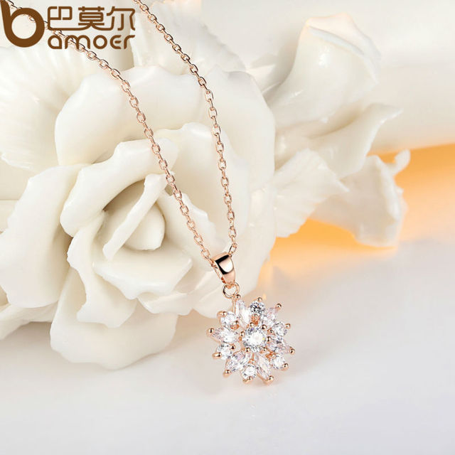 BAMOER 18K Real Gold Plated Flower Pendant with High Quality Cubic Zircon