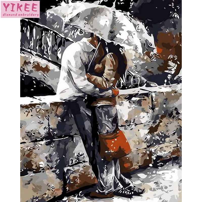 Diy Canvas Painting By Numbers,Oil Painting By Numbers,kissing Couple In The Rain,painting By Numbers Love