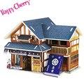Счастливые Вишня Японский Чайный Дом Дошкольного Игрушки 3D Деревянные Головоломки DIY Деревянный Дом Головоломка для Детей Взрослых Детей