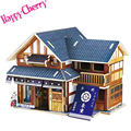 Happy Cherry Japanese Tea House Preschool Toy 3D Wood Puzzle DIY House Wooden Jigsaw for Kids Adults Children