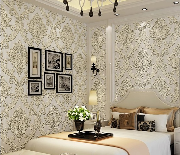 Wallpapers In Home Interiors: Beige/grey/coffee Color Luxury Damascus 3d Mural Wallpaper