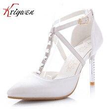 Large Size 33-43 Sexy lady thin High Heels Women's Dress Fashion Wedding shoes lady Pumps pink blue white T-strap diamond pumps