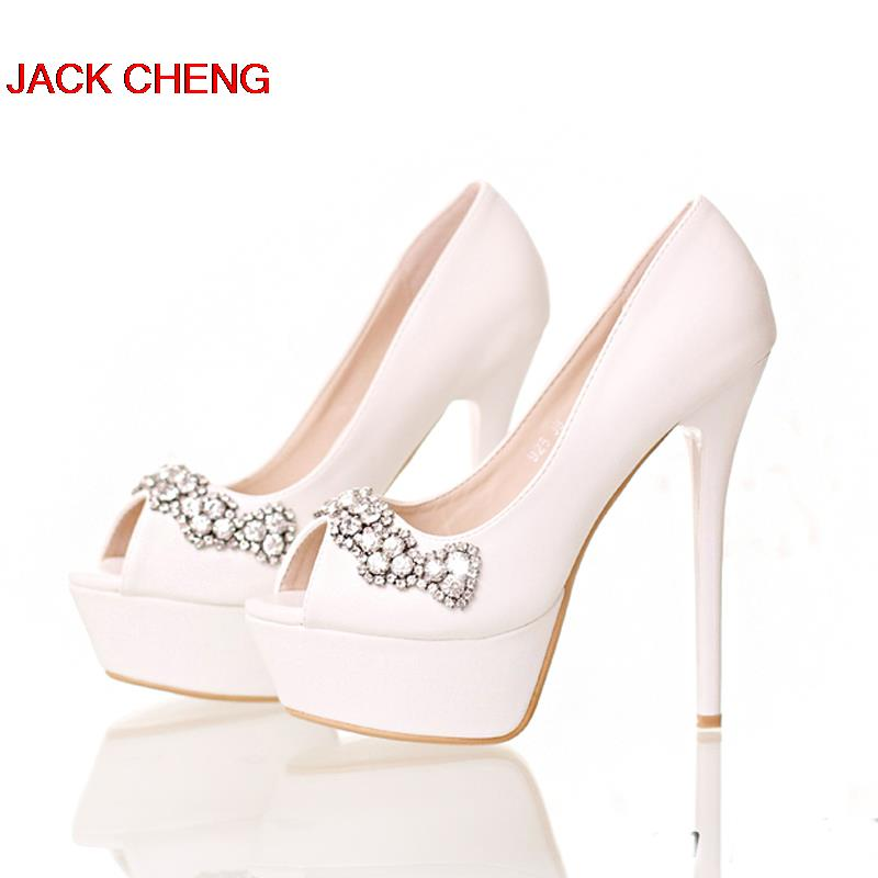 3157c4d8f0e2 Lovely White Red Pink Color Peep Toe Stiletto Heel Bridesmaid Shoes High  Heels Crystal Wedding Shoes Platform Bride Dress Shoes-in Women s Pumps  from Shoes ...