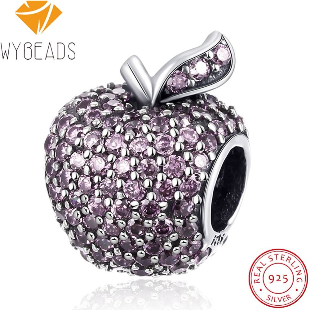 WYBEADS 925 Sterling Silver Snow Whites Apple Charms Pave Pink CZ European Bead Fit Bracelet DIY Accessories Fine Jewelry
