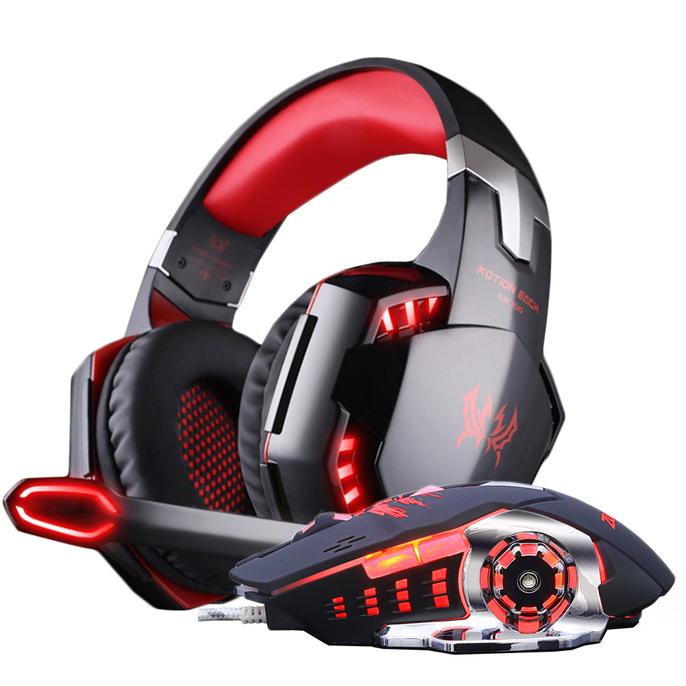 KOTION EACH Gaming Headset Headphones Bass Stereo headphone with microphone+Gaming Mouse Optical USB wired Game Mice DPI gift i rocks 7810r usb 2 0 wired 1800dpi optical gaming mouse white silvery grey