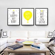 Yellow Color Canvas Painting Be Happy My Baby Wall Picture Modern Print Poster Room Decor