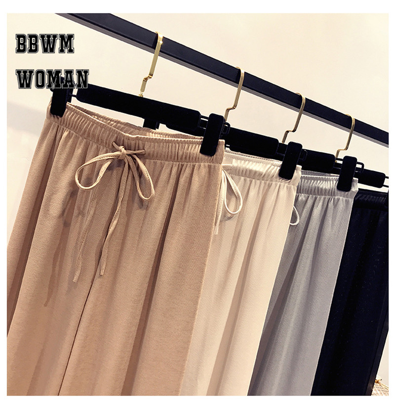 Korean Summer Ice Silk Knit High Waist Wide Leg Pants Ankle Length Straight Casual Fashion Trousers ZO437 37