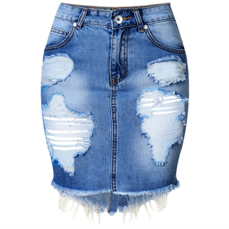 Unique PrettyLittleThing Womens Mini Skirt Ladies Cammie Blue Denim Casual