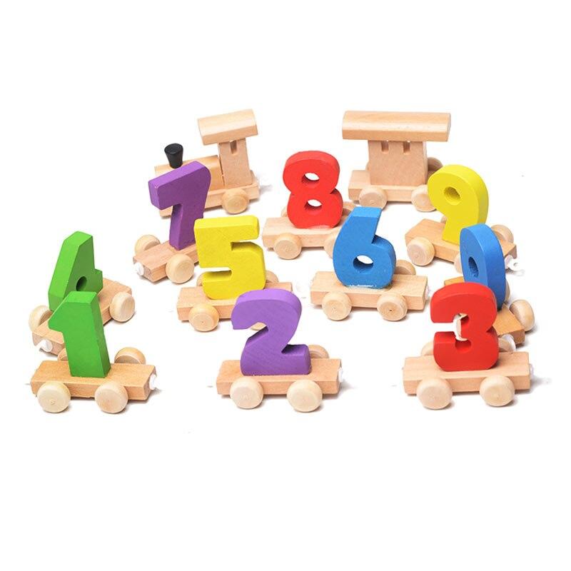 Kids Children Mini Digital Train Wooden Number Educational Toys Christmas Gift Railway Tools BM88