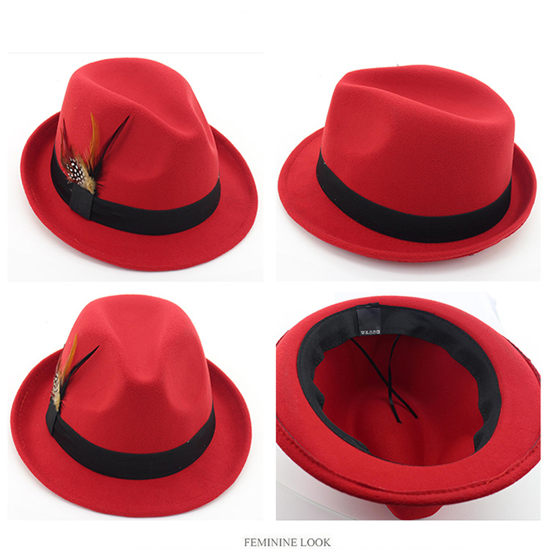 c39c1af9049f66 ... Autumn Winter Women Men Wool Felt Jazz Cap Hat Trend Lady Fedora Trilby  Hats with Feather ...