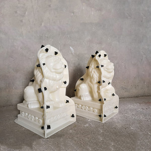 Image 5 - 35cm/13.78in Classic European Style Durable Home Gardening/ Balcony Lion ABS Plastic Concrete Mold Male &Female Pair Statue Set
