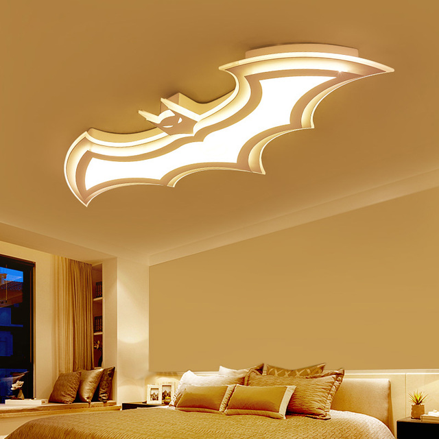 Kids Room Lamp Batman Led Chandeliers Childrens Room Bedroom Acrylic Modern Spot Ceiling Decor Home Lustre
