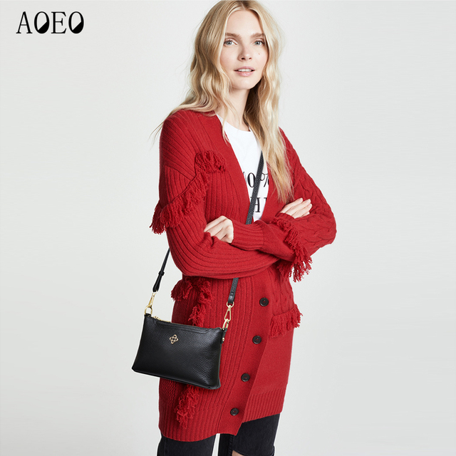 AOEO Shoulder Handbags Women Genuine Leather Luxury Messenger Bags Female Double Wristlet Cowhide Woman Red Korean small Bag