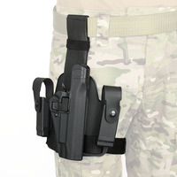 PPT Tactical 1911 Pistol Leg Holster Thigh with Magazine Pouch Holster Black Color For Hunting PP7 0091
