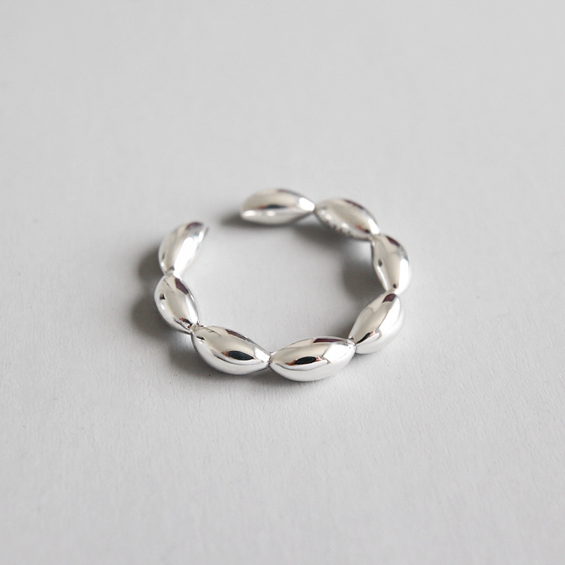 7989c7f92ee 100% Authentic S925 Sterling Silver Fine Jewelry Lucky Round Beads Ball  Geometric Ring J182