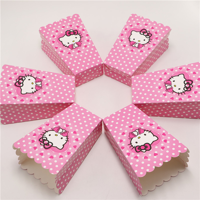 New 12pcslot Hello Kitty Party Supplies Popcorn Box Gift Box