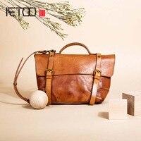 AETOO Female Bag 2017 New Original Retro Shoulder Bag Tide Package Art Handmade Leather Portable Oblique