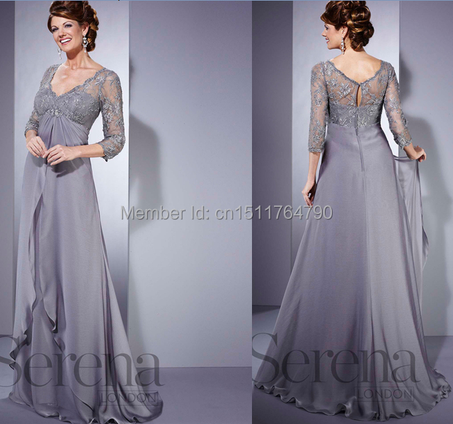 Wholesale Silver Plus Size Long Mother Of The Bride Dress Uk A Line