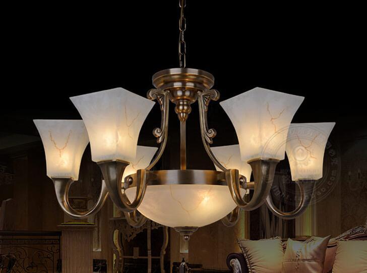 Multiple Chandelier copper lamp lamps of American retro restaurant bedroom living room lighting copper lighthZH