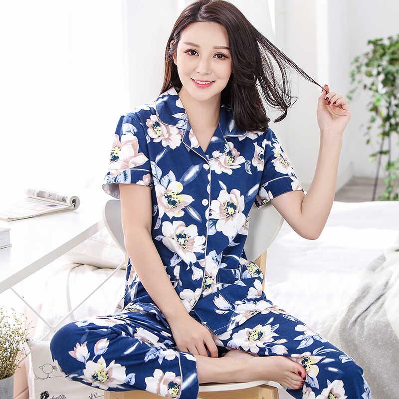 578913a303ae7 Summer floral style pyjamas women plus size M-XXXL female pajamas sets  short sleeve casual