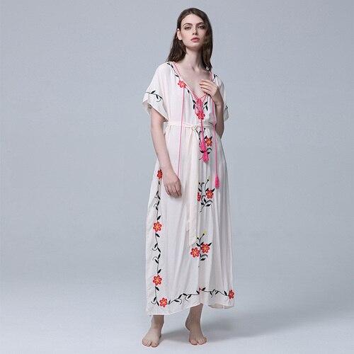 Lâche De Cheville V Manches Broderie cou Femmes Vêtements Ethnique Style Blanc souris Artistique Robe Vintage Chauve longueur q1w4EZ
