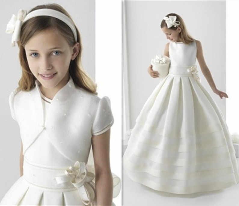 Платья для первого причастия для девочек белого и цвета слоновой кости элегантное платье с цветочным узором для девочек модные платья для торжеств Vestido De Daminha