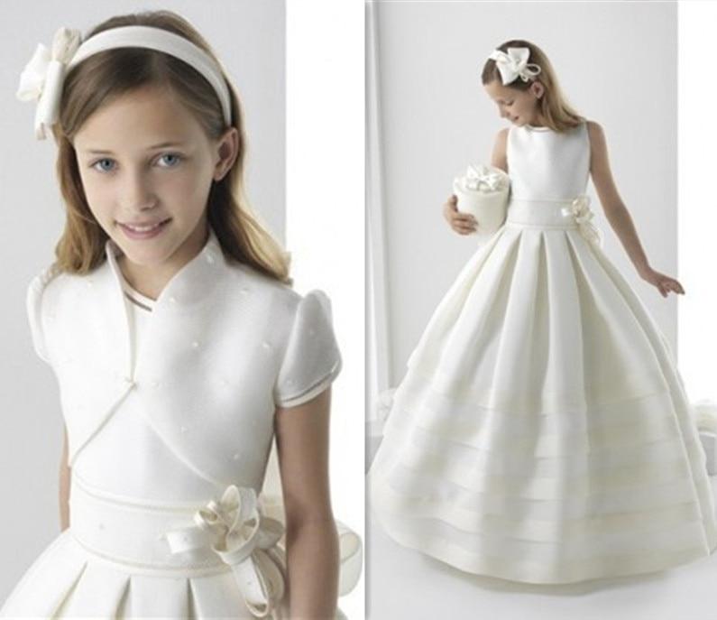 White/Ivory Girls First Holy Communion Dresses Elegant Flower Girl Dress Fashion Ritzee Girl Pageant Dresses Vestido De Daminha