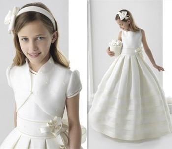 White Satin Ribbon   White/Ivory Girls First Holy Communion Dresses Elegant Flower Girl Dress Fashion Ritzee Girl Pageant Dresses Vestido De Daminha
