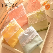 TWTZQ 2017 Underwear Women Girl Sexy Briefs Thong Ropa Interior Mujer Cotton Candy Color Lace Briefs