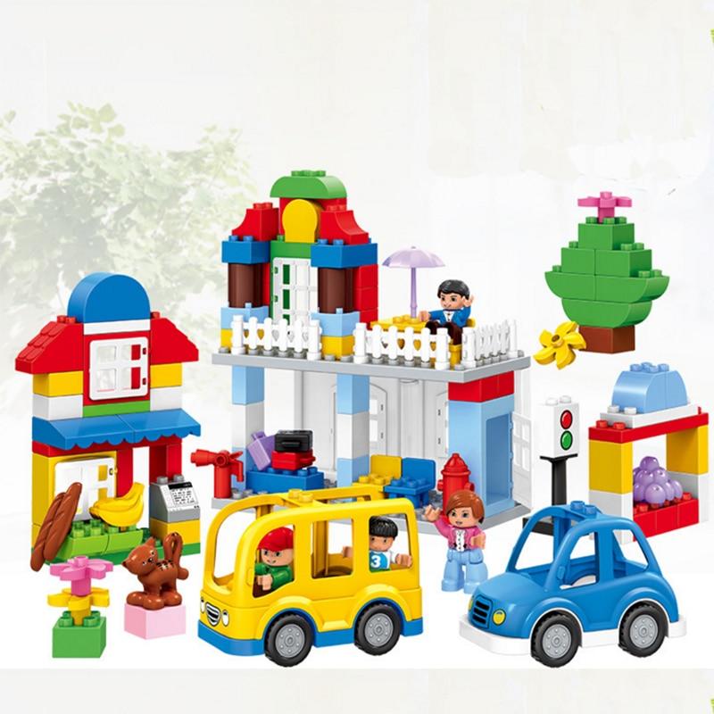 123pcs Large particles figures set house farm DIY Classic Educational Toys Bricks blocks Compatible With legoeINGly Duplos Train