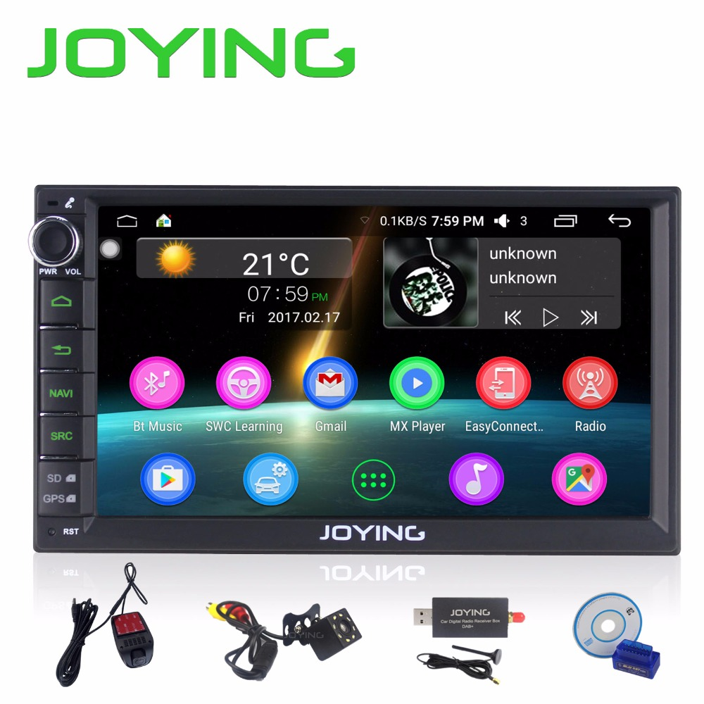 "JOYING Official 7 ""2 Din Android 6.0 Car Radio Stereo FM / AM GPS Bluetooth جهانی صوتی خودکار با دوربین دید عقب DVR OBD DAB"
