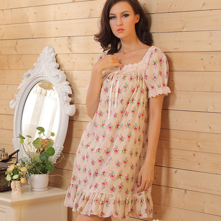 Brand Sleep Lounge Women Sleepwear Cotton Nightgowns Sexy Indoor Clothing Home Dress White Nightdress Princess Dress Plus Size 1