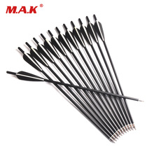 6/12 pcs Carbon Crossbow Arrow 17/20 Inches 2 Black 1 White Feather Diameter 8.8 mm untuk Panahan Busur Berburu Menembak