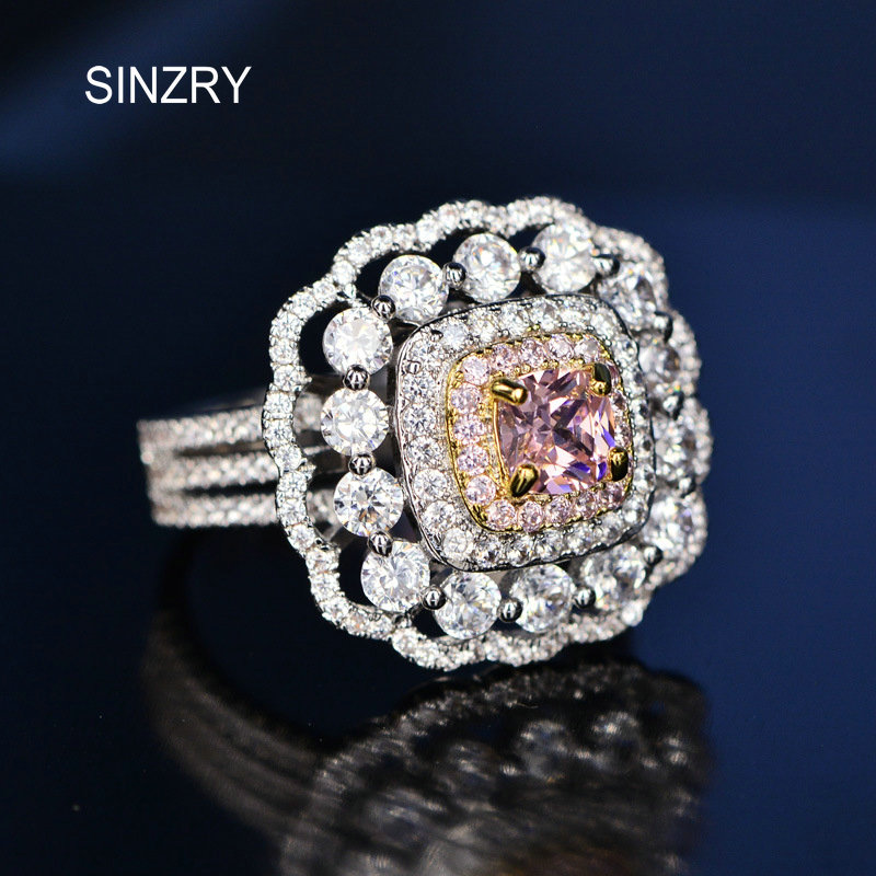 SINZRY Big CZ Engagement Ring for Women Cubic Zirconia Super Flash pink Crystal Jewelry ring Wholesale Bulk Price ...