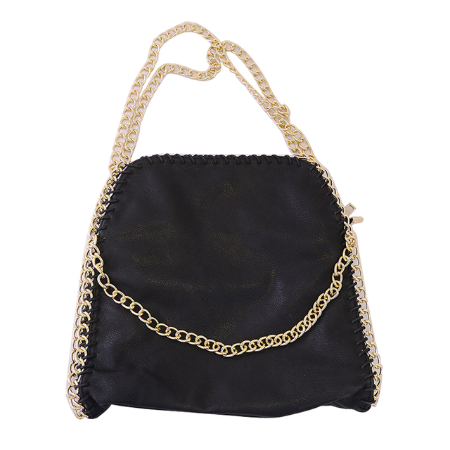 7bec01cbf3 hip-hop women tote pu leather black bag with chain strap shoulder bag with  zipper