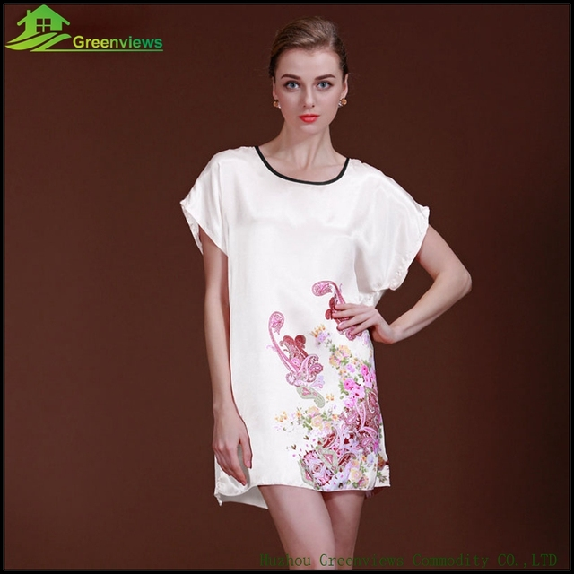 3 Farbe Summer Fashion Sexy Dress Women Summer Home Dress With Floral Loose Sleepwear  Summer Solid Slik Dress 948080023