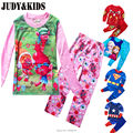 2017 teenager Boys Pijamas trolls superhero Children's Pyjamas Clothing Set superman elsa Nightwear boys Homewear costume