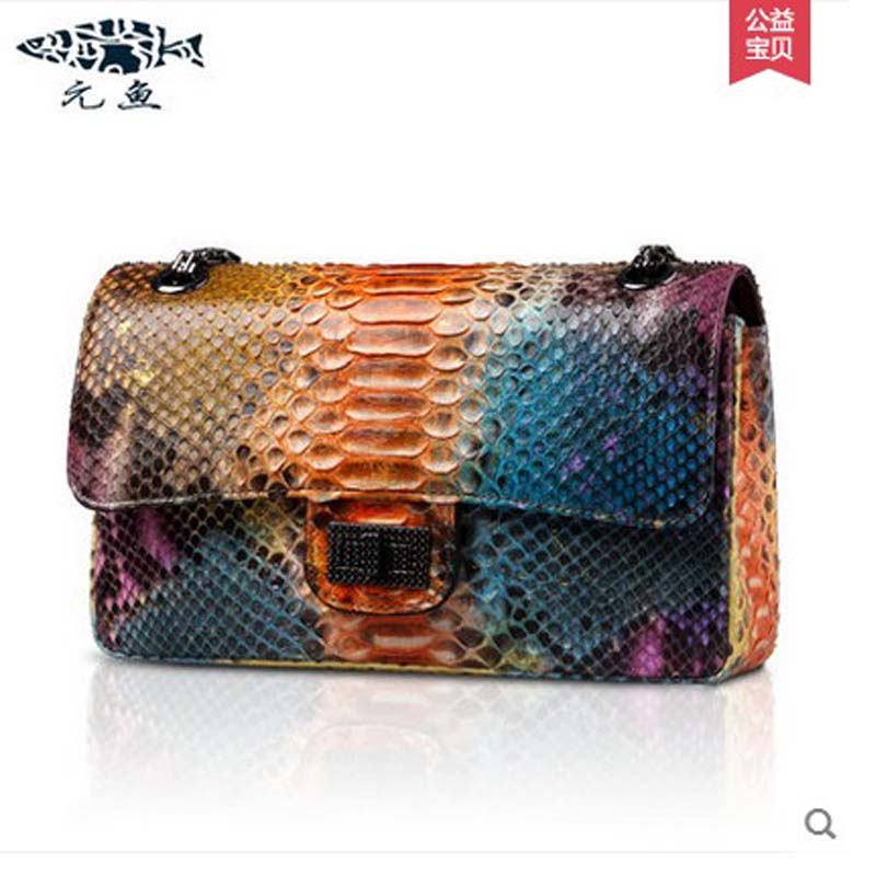 yuanyu 2017 new hot free shipping true python leather women single shoulder small real snake leather small sweet women chain bag