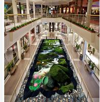 3d wallpaper pvc Forest landscape fish lotus 3D floor pvc wallpaper 3d wallpaper for bathroom waterproof