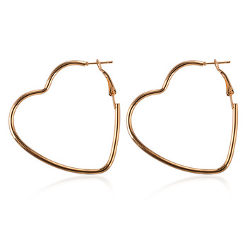 Big Hollow Gold Silver Color Heart Hoop Earrings For Women Girls Love Smooth Large Loop Earring Simple Jewelry Ear Accessories earrings