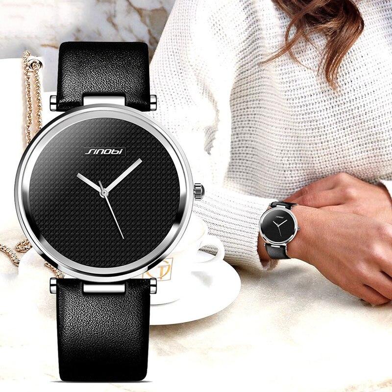 SINOBI Luxury Women Ladies Casual Quartz Wrist Watch Leather Brand Female Dress Clock Lady Watch Montre Femme relogio feminino